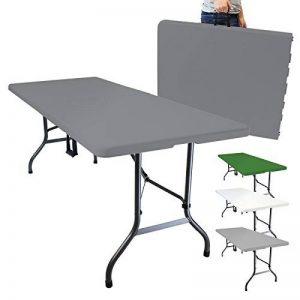 Linxor France ® Table de camping pliable avec poignée (L) 184 x (l) 76 x (H) 74 cm - 4 coloris - Norme CE - Gris anthracite de la marque Linxor image 0 produit