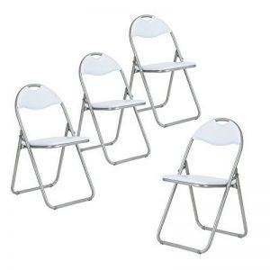 Lot de 4?pliante Chaise de bureau simili cuir rembourr? Assise de salle ? manger - blanc de la marque FITATHOME image 0 produit