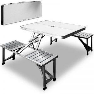 Lot de 4 sièges et 1 table en aluminium Deuba pliables pour camping - Bleu/argenté - Bois/aluminium de la marque Deuba image 0 produit