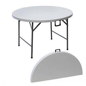 MaisonMaligne Table de Jardin/Camping Ronde Blanc - Idéal pour Pique-Nique en Famille ou entre Amis - 122 x 10 cm de la marque MaisonMaligne image 0 produit