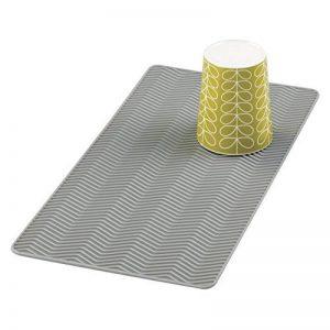 mDesign Égouttoir en silicone Chevron, pour plans de travail de cuisine - Petit, Gris de la marque MetroDecor image 0 produit