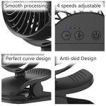Mini Ventilateur à Clipper, AngLink Ventilateur USB de bureau avec Batterie Rechargeable, 4 Modes Rotation à 360° | puissant et silencieux | pour Poussette, Voiture, Camping, etc de la marque AngLink image 6 produit