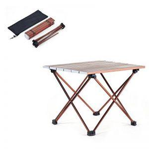 Movaty table multifonctions pliant léger pliable table de camping portable avec sac de transport pour le camping de pique-NIC, petite et grande taille, brun et blanc, alliage d'aluminium de la marque Movaty image 0 produit