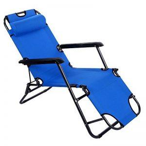 mymotto Chaise Longue de Camping Pliante,Fauteuil Relax Chaise avec Coussin Tête Inclinable de la marque mymotto image 0 produit