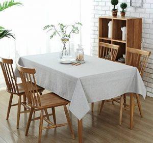 Nappe de Table Rectangulaire Décoration de Table Coton et Lin Gris Clair 135 x 180 cm de la marque Topmail image 0 produit