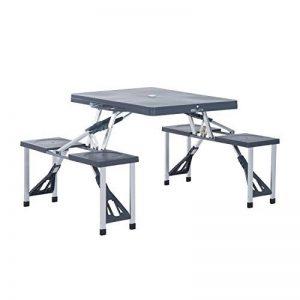 Outsunny Alu Table de camping, pique-nique, siège groupe Table de jardin avec 4sièges, pliable Noir de la marque Outsunny image 0 produit