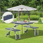 Outsunny Alu Table de camping, pique-nique, siège groupe Table de jardin avec 4sièges, pliable Noir de la marque Outsunny image 1 produit