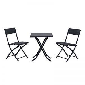 Outsunny Ensemble meubles de jardin design table carré et chaises pliables résine tressée 4 fils métal noir neuf 93 de la marque Outsunny image 0 produit