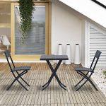 Outsunny Ensemble meubles de jardin design table carré et chaises pliables résine tressée 4 fils métal noir neuf 93 de la marque Outsunny image 1 produit