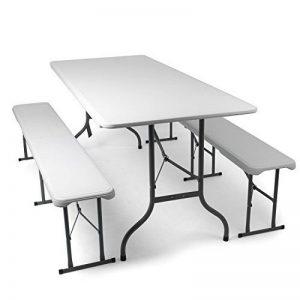 Park Alley - L'ensemble de Mobilier de Jardin + 2 Bancs et Table brasserie en blanc - Pliables - Table et bancs en plastique de la marque Park Alley image 0 produit
