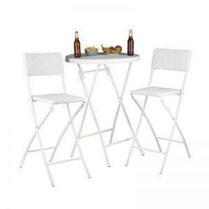 Relaxdays Chaise de bar lot de 2 avec dossier pliante pliable BASTIAN tabouret 78 cm hauteur, blanc de la marque Relaxdays image 0 produit