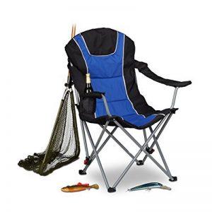 Relaxdays Chaise de camping pliable fauteuil de pêche rembourré avec porte-boissons dossier réglable HxlxP: 108 x 90 x 72 cm, bleu noir de la marque Relaxdays image 0 produit