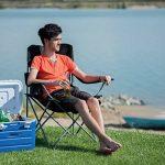 Relaxdays Chaise de camping pliante chaise de jardin pliable avec dossier et porte-gobelet HxlxP: 100 x 90 x 56 cm, bleu noir de la marque Relaxdays image 1 produit
