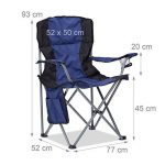 Relaxdays Chaise de camping pliante chaise de jardin pliable avec dossier porte-gobelet et accoudoirs HxlxP : 93 x 77 x 52 cm, bleu noir de la marque Relaxdays image 1 produit