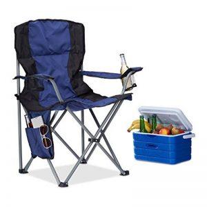 Relaxdays Chaise de camping pliante chaise de jardin pliable avec dossier porte-gobelet et accoudoirs HxlxP : 93 x 77 x 52 cm, bleu noir de la marque Relaxdays image 0 produit