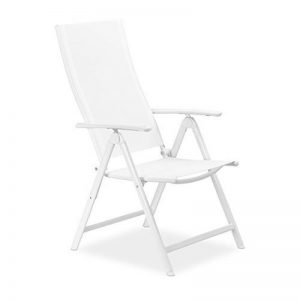 Relaxdays Chaise de jardin en alu pliable métal avec dossier réglable balcon HxlxP; 100 x 56 x 100 cm camping festival, blanc de la marque Relaxdays image 0 produit
