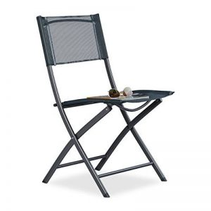 Relaxdays Chaise de jardin pliable plastique et métal chaise balcon pliante camping terrasse wave HxlxP: 87 x 55 x 48,5 cm, anthracite gris de la marque Relaxdays image 0 produit
