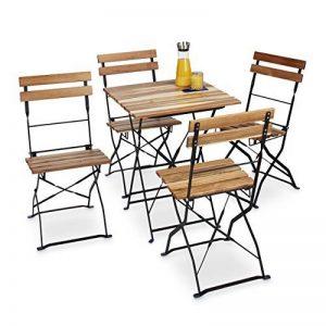 Relaxdays Chaise de jardin pliante lot de 4 en bois nature et métal sans accoudoir HxlxP: 84 x 42 x 44 cm, marron nature de la marque Relaxdays image 0 produit