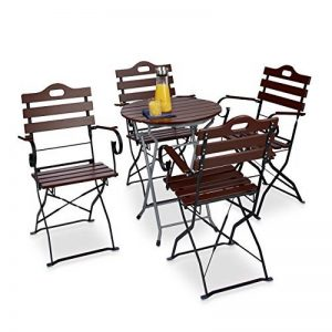 Relaxdays Chaise de jardin pliante lot de 4 en bois rouge brun nature et métal accoudoir HxlxP: 88 x 51,5 x 45 cm, brun rouge de la marque Relaxdays image 0 produit