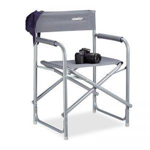 Relaxdays Chaise de metteur en scène pliante HxlxP: 81,5 x 56 x 50 cm, camping, avec logo, charge jusqu'à 120 kg en aluminium, gris de la marque Relaxdays image 0 produit
