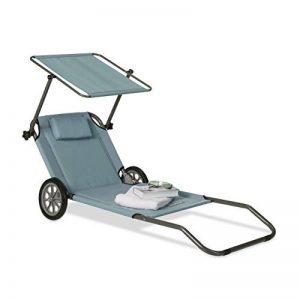 Relaxdays Chaise longue à roulettes Transat pliable plage jardin relaxation avec pare-soleil dossier inclinable jusqu'à 120 kg, anthracite de la marque Relaxdays image 0 produit