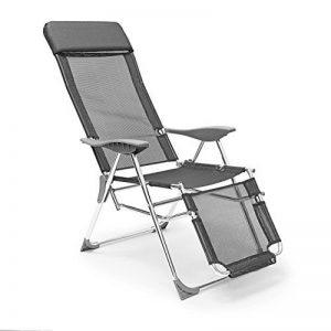 Relaxdays Chaise longue de camping pliante pliable HxLxP 111 x 60 x 75 cm accoudoirs 3 positions réglables, anthracite de la marque Relaxdays image 0 produit
