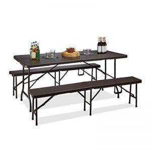 Relaxdays Ensemble de 1 table et 2 bancs jardin BASTIAN pliable terrasse pliant HxlxP : 73 x 180 x 75 cm, marron de la marque Relaxdays image 0 produit