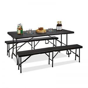 Relaxdays Ensemble de 1 table et 2 bancs jardin BASTIAN pliable terrasse pliant HxlxP : 73 x 180 x 75 cm, noir de la marque Relaxdays image 0 produit
