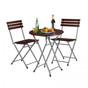 Relaxdays Ensemble table ronde et 2 chaises de jardin pliables en bois marron brun balcon terrasse, rouge brun de la marque Relaxdays image 0 produit