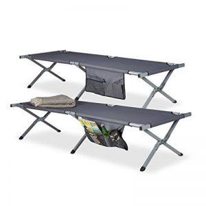 Relaxdays Lit de camp pliable lot de 2 lit camping XXL polyester HxlxP: 190 x 64 x 43 cm, sacoche transport de la marque Relaxdays image 0 produit