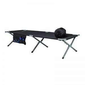 Relaxdays Lit de camp posable en aluminium et PE camping tente pliable avec poches, noir argenté de la marque Relaxdays image 0 produit