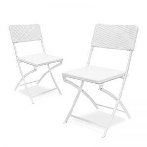 Relaxdays Lot de 2 Chaises de jardin pliables pliantes Chaise de camping BASTIAN en aspect rotin H x l x P: 82 x 44 x 50 cm, blanc de la marque Relaxdays image 0 produit