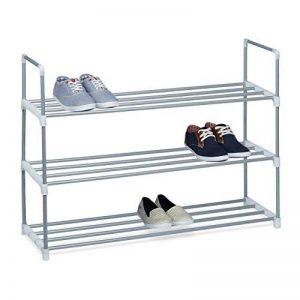 Relaxdays Meuble à chaussures en métal HxlxP: 70 x 90 x 30 cm rangement pour chaussure avec 3 étages pour 12 paires, gris de la marque Relaxdays image 0 produit