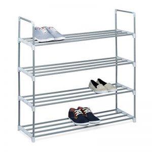 Relaxdays Meuble à chaussures en métal HxlxP: 93 x 90 x 30cm rangement 4 étages pour 16 paires, gris de la marque Relaxdays image 0 produit