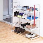 Relaxdays Meuble à chaussures en métal HxlxP: 93 x 90 x 30cm rangement 4 étages pour 16 paires, gris de la marque Relaxdays image 1 produit