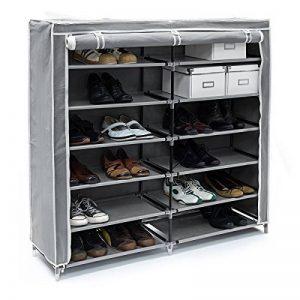 Relaxdays Meuble à chaussures VALENTIN Housse tissu étagère armoir chaussures 7 Étages pour environ 36 paires de chaussures H x l x P: 108,5 x 114 x 30,5 cm Fermeture à glissière Gris de la marque Relaxdays image 0 produit