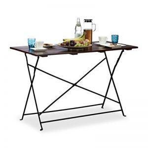 Relaxdays Table de jardin 120x60 cm pliante terrasse grande table pique nique pour 4 personnes service HxlxP: 75 x 120 x 60 cm, marron de la marque Relaxdays image 0 produit