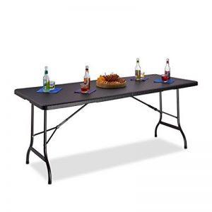 Relaxdays Table de jardin pliable BASTIAN optique rotin grande table pliante poignées camping pique-nique HxlxP: 72 x 178 x 74 cm, noir de la marque Relaxdays image 0 produit