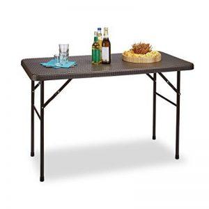 Relaxdays Table pliante de jardin rectangle Camping pliable BASTIAN en aspect rotin Terrasse HxlxP: 74 x 121,5 x 61 cm, marron de la marque Relaxdays image 0 produit