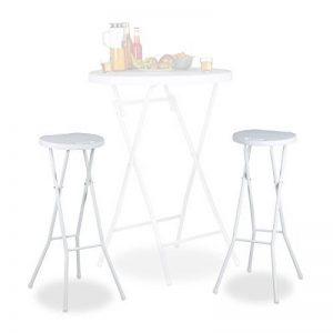 Relaxdays Tabouret pliant de jardin BASTIAN lot de 2 sans dossier résistant hauteur 80 cm chaise de bar plastique optique rotin, blanc de la marque Relaxdays image 0 produit