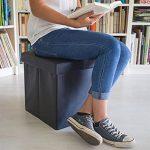Relaxdays Tabouret pliant en similicuir pouf de rangement pliable repose-pieds de stockage carré 38 x 38 x 38 cm avec couvercle amovible assise table ottoman coffre chaise, noir de la marque Relaxdays image 1 produit