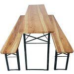 Set x3 table de brasserie de proheim (1 table + 2 bancs) - Ensemble de jardin pliable en bois de 177 cm de la marque PROHEIM image 2 produit