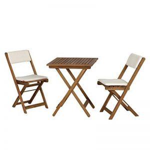 Siena Garden 673122 Almeria Set de Balcon 2 Chaises Pliantes + 1 Table avec Coussin Écru Acacia 60 x 60 cm de la marque Siena Garden image 0 produit