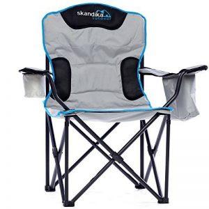 skandika Siège Deluxe - Siège chaise de camping pliable - Jusqu'à 150 kg - Sac de transport - Gris/Noir de la marque skandika image 0 produit