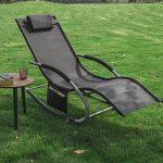 SoBuy 2x OGS28-Sch Lot de 2 Fauteuils à bascule Transats de jardin avec repose-pieds et 1 pochette latérale, Bains de soleil Rocking Chair - Noir de la marque SoBuy image 1 produit