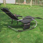 SoBuy 2x OGS28-Sch Lot de 2 Fauteuils à bascule Transats de jardin avec repose-pieds et 1 pochette latérale, Bains de soleil Rocking Chair - Noir de la marque SoBuy image 3 produit