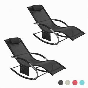 SoBuy 2x OGS28-Sch Lot de 2 Fauteuils à bascule Transats de jardin avec repose-pieds et 1 pochette latérale, Bains de soleil Rocking Chair - Noir de la marque SoBuy image 0 produit