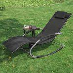 SoBuy 2x OGS28-Sch Lot de 2 Fauteuils à bascule Transats de jardin avec repose-pieds et 1 pochette latérale, Bains de soleil Rocking Chair - Noir de la marque SoBuy image 4 produit