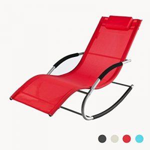 SoBuy OGS28-R Fauteuil à bascule Chaise longue Transat de jardin avec repose-pieds, Bain de soleil Rocking Chair - Rouge de la marque SoBuy image 0 produit