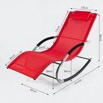 SoBuy OGS28-R Fauteuil à bascule Chaise longue Transat de jardin avec repose-pieds, Bain de soleil Rocking Chair - Rouge de la marque SoBuy image 1 produit